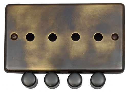 G&H CAN14-PK Standard Plate Polished Aged Brass 4 Gang Dimmer Plate Only inc Dimmer Knobs